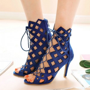 Women's Navy Stiletto Heels Open Toe Hollow Out Lace Up Sandals