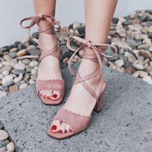 Light Pink Strappy Sandals Suede Chunky Heels