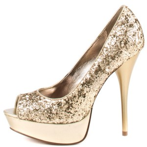 Women's Golden Sparkly Peep Toe Stiletto Heels Pumps Shoes