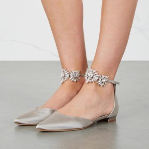Grey Flat Wedding Shoes Satin Pointy Toe Rhinestone Ankle Strap Flats