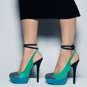 Women's Teal and Blue Stiletto Heel Ankle Strap Heels Pumps Shoes