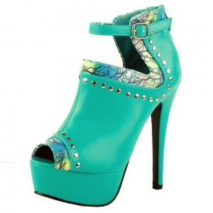 Turquoise Studded Peep Toe Stiletto Boots Platform Heels Ankle Boots