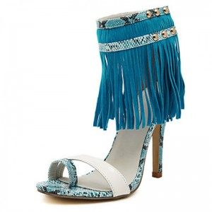 Cobalt Blue Suede Fringe Sandals Open Toe Python Stiletto Heels