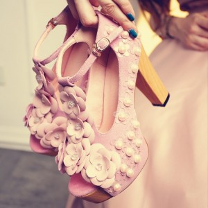Pink Flowers and Pearls T Strap Chunky Heel Wedding Sandals