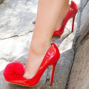 Women's Red Fluffy Pointed Toe Stiletto Heels Pumps Shoes