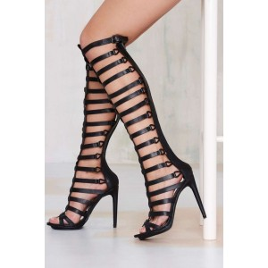 Women's Black Hollow-out Over-The-Knee Stiletto Heel Gladiator Sandals