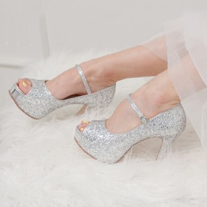 Silver Glitter Bridal Heels Peep Toe Platform Mary Jane Pumps