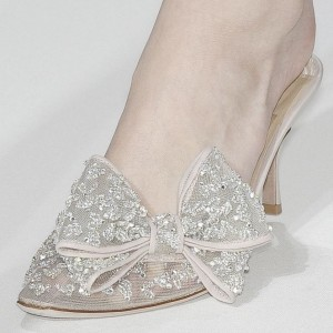 Women's Silver Bow Lace Rhinestone Mule Kitten Heel Bridal Sandals