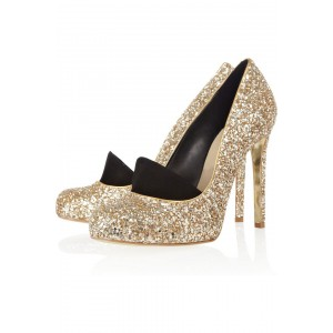 Women's Golden Sparkly Stiletto Heel Wedding Shoes