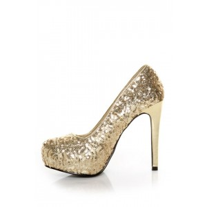 Women's Golden Sparkly Commuting Stiletto Heels Pump Shoes