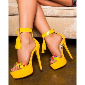 Yellow Tassel Sandals Patent Leather Ankle Strap Platform High Heels