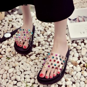 Women's Black with Rhinestone Clear Wedge Sandals