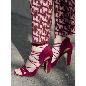 Burgundy Heels Open Toe Suede Chunky Heel Strappy Sandals