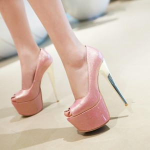 Women's Pink Platform Stiletto High  Peep Toe Heels Pumps Shoes
