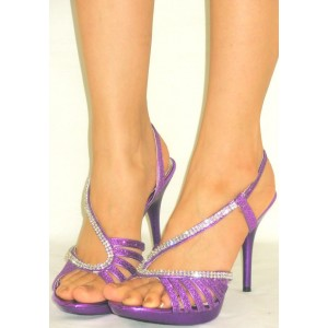 Women's Purple with Rhinestone Open Toe Stiletto Heels Sandals