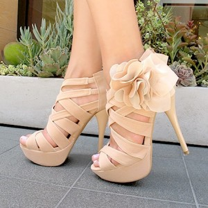 Women's Beige Open Toe Hollow Out Stiletto Heels Wedding Shoes