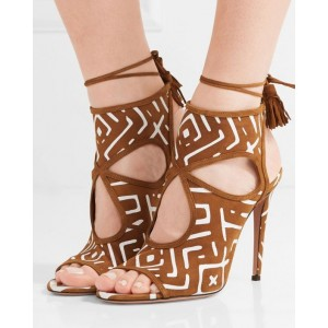 Women's Brown Hollow Out Tassels Fringe Stiletto Heels Sandals