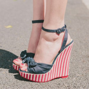 Denim Wedge Heels Ankle Strap Sandals with Bow