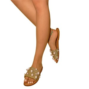 Golden Comfortable Flats Pearl Open Toe Slipper Sandals