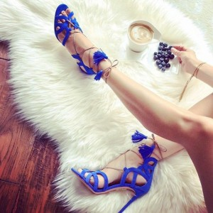 Women's Blue Hollow Out Tassels  Strappy Stiletto Heels Sandals