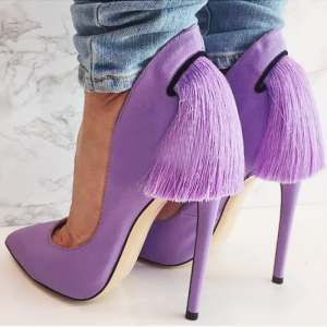Purple Fringe Stiletto Heels Pointy Toe Pumps Shoes