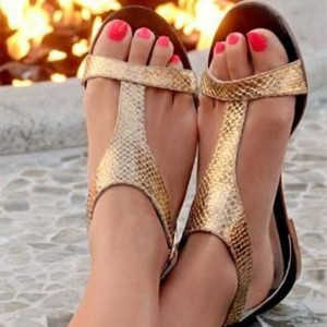 Gold Python Beach Sandals T Strap Open Toe Summer Flat Sandals