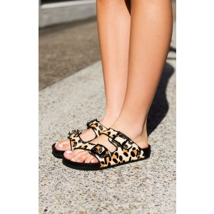 Women's Brown Leopard-print Open Toe Comfortable Flats Sandals