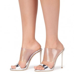 Silver Metallic and Clear Mule Heels Open Toe Office Stiletto Heels