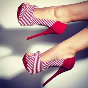 Red Stripes Platform Heels Peep Toe Stiletto Heel Bow Pumps