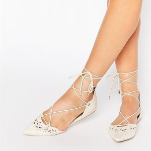 Ivory Strappy Shoes Lace up Hollow out Comfortable Flats
