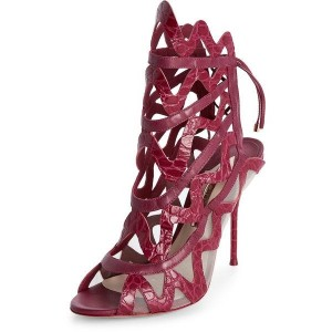 Women's Red Hollow Out Stiletto Heels Open Toe Strappy Sandals