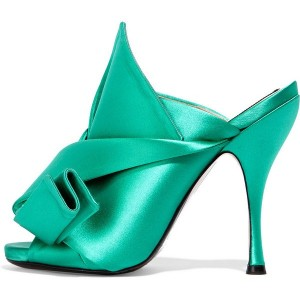 Turquoise Heels Knot Satin Open Toe Mule Sandals for Prom