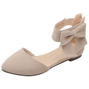 Women's Nude Ankle Strap Bow Pointed Toe Comfortable Flats