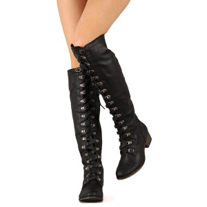 Black Lace up Boots Vintage Knee High Chunky Heel Boots