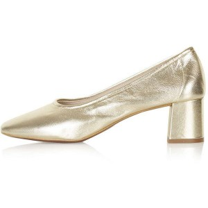 Women's Golden Pointed Toe Chunky Heels Pumps Shoes