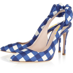 Blue And White Plaid Bow Heels Stiletto Heels Slingback Pumps
