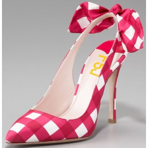 Magenta and White Plaid Bow Heels Stiletto Heel Slingback Pumps