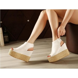 Women's White Platform Sandals Wedges Slingback Shoes