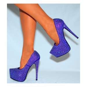Women's Purple Sparkly Heels Prom Platform  shoes