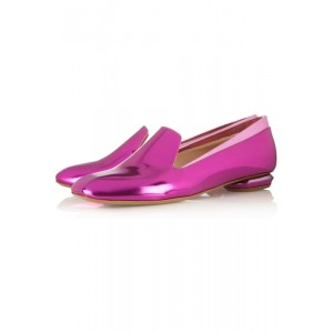 Women's Purple Metallic Comfortable Flats Pointed Shoes