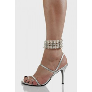 Women's Silver Ankle Strap Sandals Stiletto Heels With Pearl
