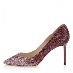Women's Red Sparkly Heels Prom Stiletto Pump Shoes