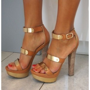 Tan Heels Open Toe Platform Metal Embellishment Chunky Heel Sandals