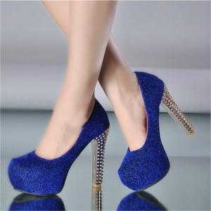 Women's Blue Sparkly Heels Rhinestone Chunky Platform Shoes