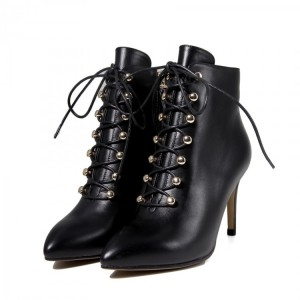 Black Lace up Boots Stiletto Heel Work Booties for Women