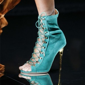 Turquoise Lace up Boots Suede Open Toe Booties for Women