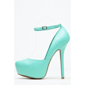 Turquoise Heels Platform Ankle Strap Closed Toe Stiletto Heel Pumps