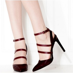 Women's Claret-red Ankle Strap Sandals Slingback Stiletto Pointy Toe Heels