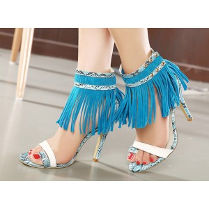 Women's Blue Python Fringe Sandals Stiletto Heels