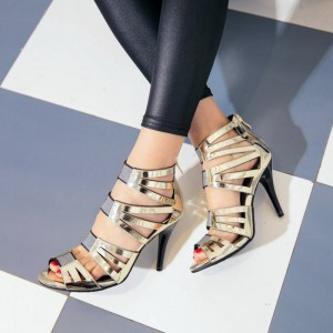 Women's Champagne Gladiator Sandals Metal Zipper Stiletto Heels